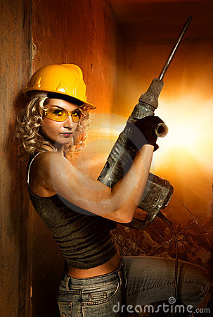 Free Woman With Heavy Perforator Royalty Free Stock Images - 8580759
