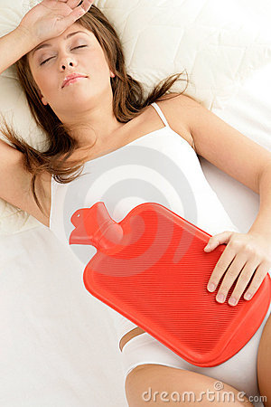 Free Woman With Hot Bottle Water Stock Images - 14135504