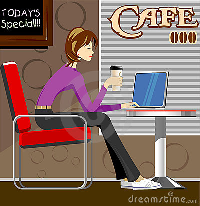 Free Woman With Laptop In Coffee Shop Royalty Free Stock Image - 10937886