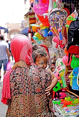 Free Woman With Little Girl In Medina Of Essaouira Stock Photo - 110082000