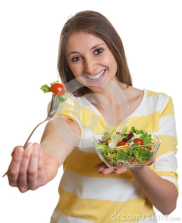 Free Woman With Long Brown Hair Eating Salad Stock Images - 35335504