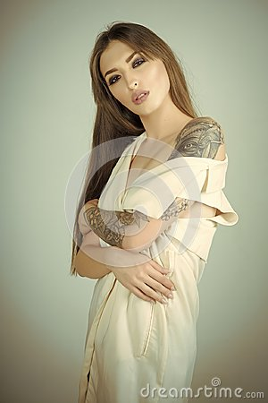 Free Woman With Long Brunette Hair, Hairstyle, Beauty, Salon Stock Photography - 116131552