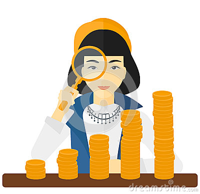 Free Woman With Magnifier And Golden Coins. Stock Images - 66624254