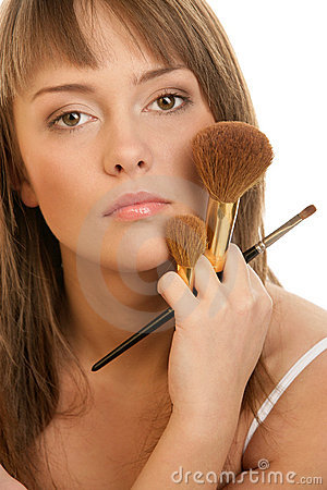 Free Woman With Make-up Brushes Royalty Free Stock Photography - 14135977