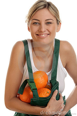 Free Woman With Oranges Stock Image - 13874491