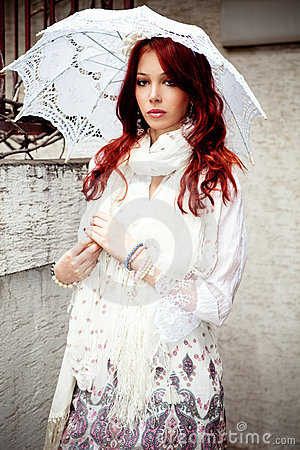 Free Woman With Parasol Stock Photography - 19142722