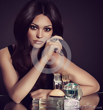Free Woman With Perfume Bottle Stock Photos - 34458683