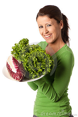 Free Woman With Plate Of Salad Stock Photography - 23959962
