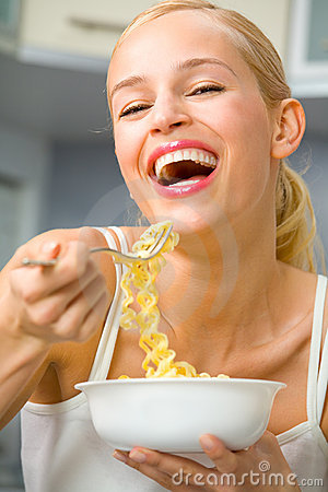 Free Woman With Plate Of Spaghetti Stock Photos - 4325913