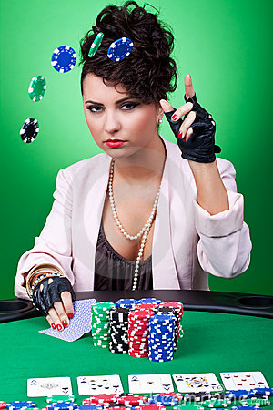 Free Woman With Poker Face Making A Bet Stock Images - 18814384