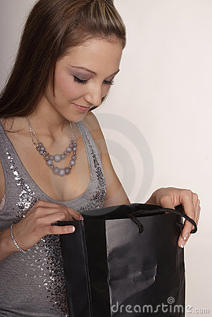 Free Woman With Purchase Bag Royalty Free Stock Image - 4778726