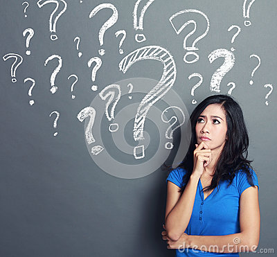 Free Woman With Question Mark Stock Photo - 39714510