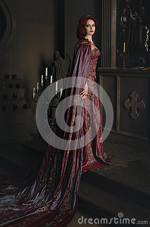 Free Woman With Red Hair In Ancient Castle Stock Images - 54079784