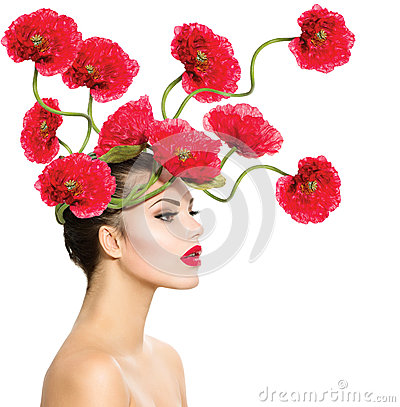 Free Woman With Red Poppy Flowers Stock Photos - 34260533