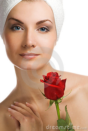Free Woman With Red Rose Stock Photo - 4111180