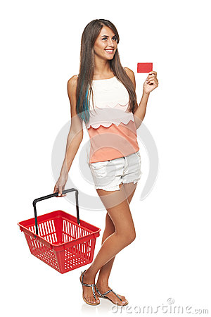 Free Woman With Red Shopping Basket Royalty Free Stock Photos - 45685298