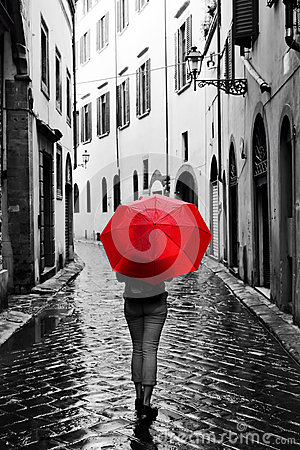 Free Woman With Red Umbrella On Retro Street In The Old Town. Wind And Rain Stock Photography - 62794752