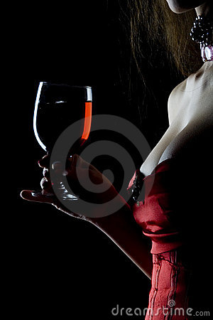 Free Woman With Red Wine Royalty Free Stock Photography - 4607507