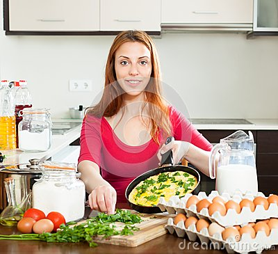 Free Woman With Scrambled Eggs In Pan Royalty Free Stock Photo - 37551365