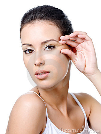 Free Woman With Sensual Look Pinching Skin Near The Eye Stock Images - 15239124