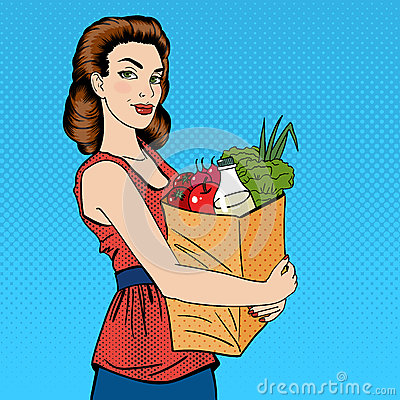 Free Woman With Shopping Bag. Girl With Groceries Healthy Food Stock Photo - 70999050