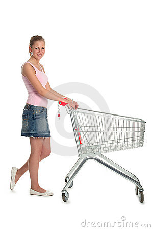 Free Woman With Shopping Cart Stock Images - 707574