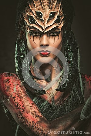 Free Woman With Spider Body Art Royalty Free Stock Image - 38465776