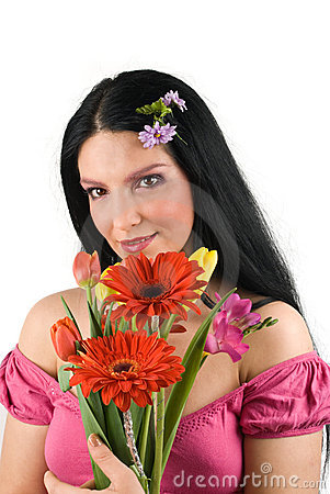 Free Woman With Spring Flowers Bouquet Stock Photos - 8555133