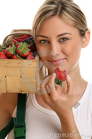 Free Woman With Strawberries Royalty Free Stock Image - 13874576