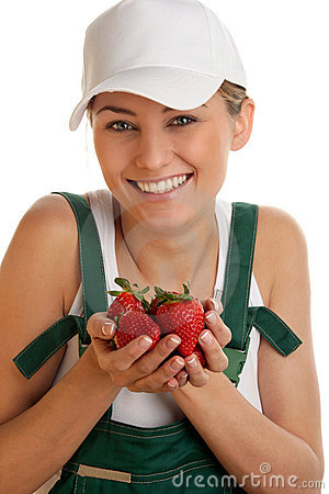 Free Woman With Strawberries Royalty Free Stock Images - 13874739