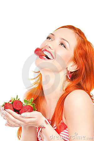 Free Woman With Strawberry Royalty Free Stock Photography - 19265807