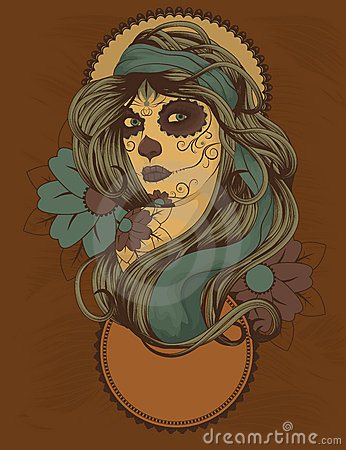 Free Woman With Sugar Skull Face Paint Stock Images - 19886164