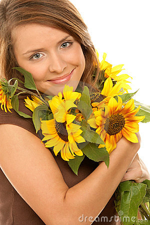 Free Woman With Sunflowers Royalty Free Stock Image - 11447506