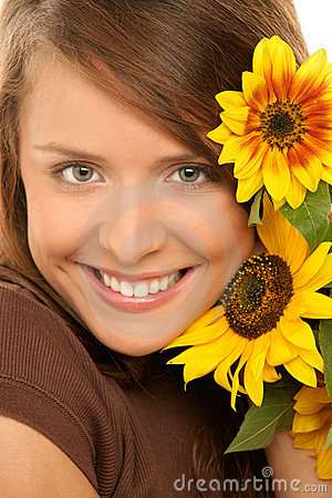 Free Woman With Sunflowers Royalty Free Stock Photo - 11956155