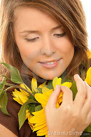 Free Woman With Sunflowers Stock Photos - 12602733
