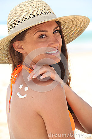 Free Woman With Sunscreen Royalty Free Stock Photo - 27391535