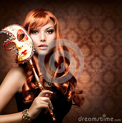 Free Woman With The Carnival Mask Stock Photography - 26467412