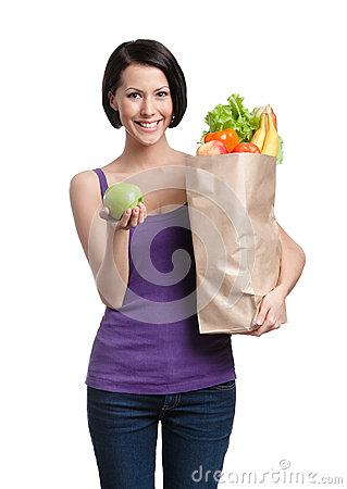 Free Woman With The Packet Full Of Healthy Nutrition Stock Photography - 26037382