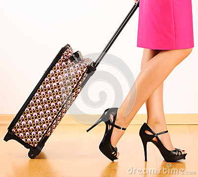 Free Woman With Travel Suitcase Stock Photos - 25300223