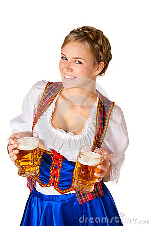 Free Woman With Two Mugs Of Beer Royalty Free Stock Photos - 33808918