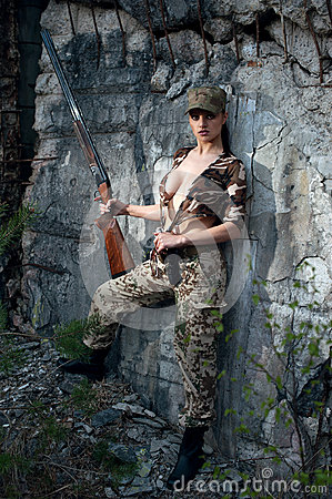 Free Woman With Weapon Stock Image - 42379301