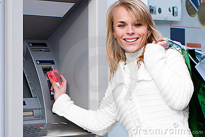 Woman withdrawing money