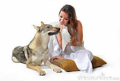 Woman, wolf and dove