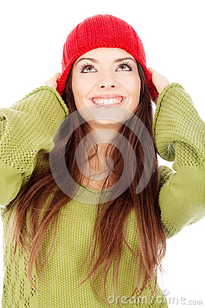 Woman in wool sweater and cap