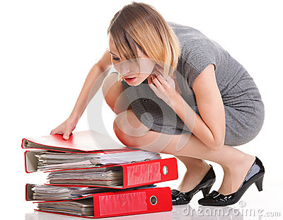 Woman work Overworked businesswoman plenty of documents