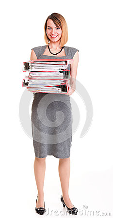 Woman work Overworked businesswoman plenty of documents isolated