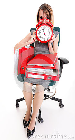 Woman work stoppage Overworked businesswoman plenty of documents