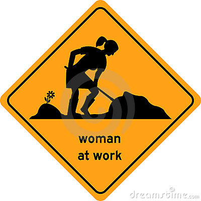 Woman at work traffic sign, symbol