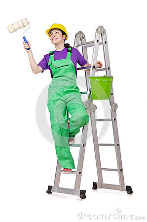 Woman worker on ladder