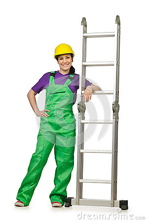 Woman worker with ladder